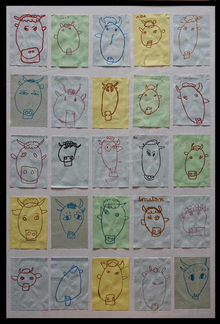 des dessins de tête de vache réalisés par des enfants