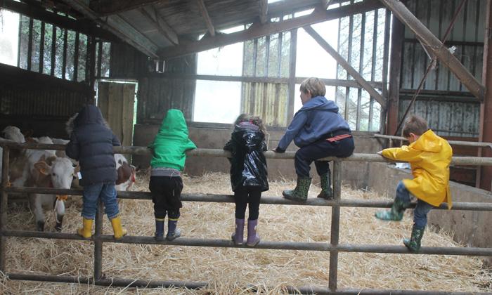 des enfants jouent sur la barrière